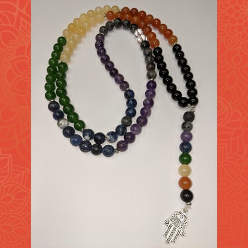 one of a kind fatima hand chakra aroma mala beads