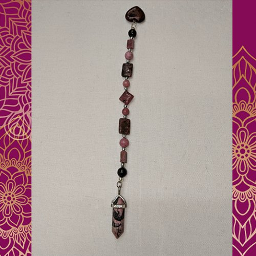 Rhodonite and Rhodochrosite One of a Kind Gemstone Pendulum